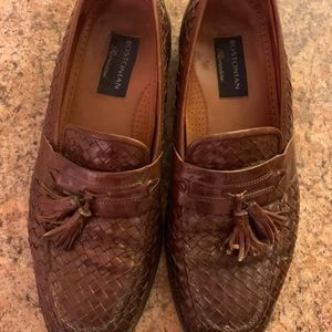 Men's brown leather penny loafers